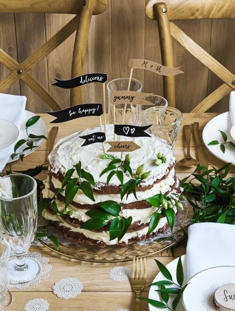 Cake topper Flagietki EKO i czarne