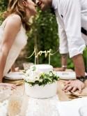 Topper na tort Love złoty 17cm