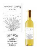 Personalizowana naklejka etykieta na wino Drzewo