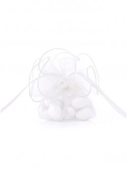 Ściągane Białe woreczki z gładkiej organzy