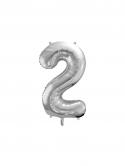 """Balon foliowy metalizowany Cyfra """"2"""" Srebrny 86cm"""