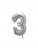 """Balon foliowy metalizowany Cyfra """"3"""" Srebrny 86cm"""