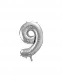 """Balon foliowy metalizowany Cyfra """"9"""" Srebrny 86cm"""