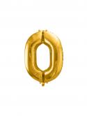 """Balon foliowy metalizowany Cyfra """"0"""" Złoty 86cm"""