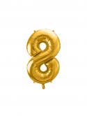 """Balon foliowy metalizowany Cyfra """"8"""" Złoty 86cm"""