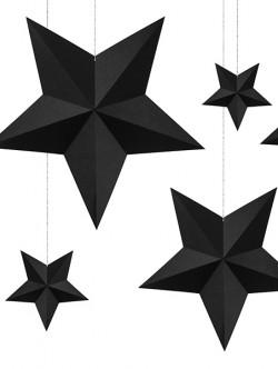 Gwiazdy wiszące czarne 6szt