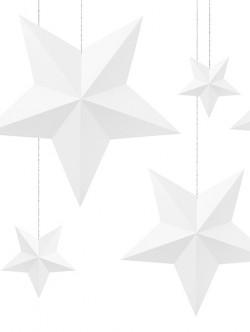 Gwiazdy wiszące białe 6szt