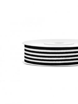 Tasiemka rypsowa czarno biała