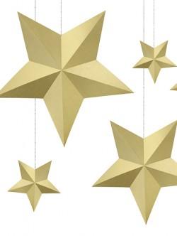 Gwiazdy wiszące złote 6szt