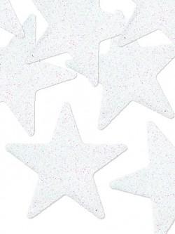 Dekoracje brokatowe gwiazdki białe