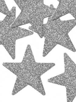 Dekoracje brokatowe gwiazdki srebrne
