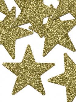 Dekoracje brokatowe gwiazdki złote