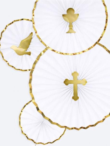 Rozety białe ze złotymi brzegami