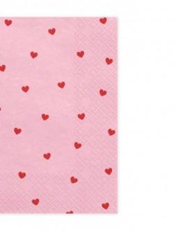 Serwetki Serca jasny róż Sweet Love